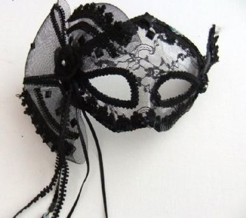 Black lace burlesque fan mask with Ribbons